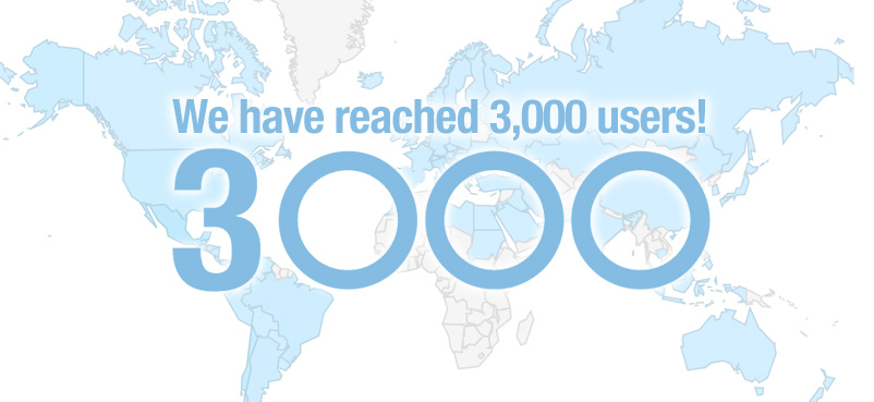 We have reached 3,000 users!